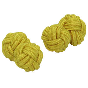 Yellow Silk Knot Cufflinks from Cuffs & Co