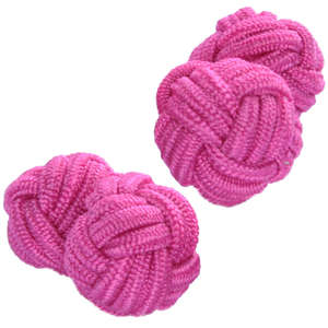 Vibrant Pink Silk Knot Cufflinks from Cuffs & Co