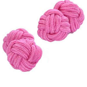 Pale Pink Silk Knot Cufflinks from Cuffs & Co