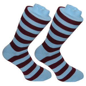 Claret & Blue Stripy Socks | SOCK CLUB® from Cuffs & Co