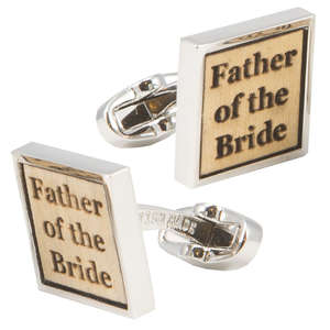 Birch Wood Father of the Bride Cufflinks from Cuffs & Co