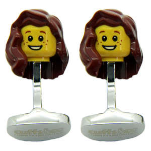 Brown Hair Woman LEGO® Head Cufflinks from Cuffs & Co