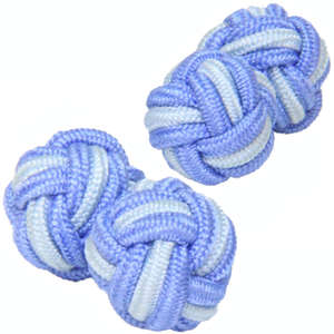 Pale Blue and Light Blue Silk Knot Cufflinks from Cuffs & Co