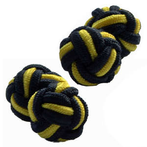 Black and Yellow Silk Knot Cufflinks from Cuffs & Co
