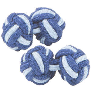 Dark Blue and Baby Blue Silk Knot Cufflinks from Cuffs & Co