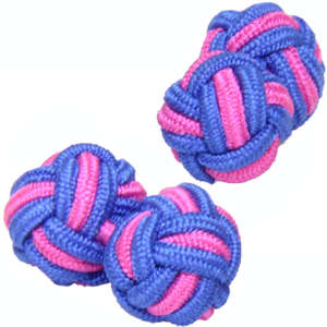Vibrant Pink and Vibrant Blue Silk Knot Cufflinks from Cuffs & Co