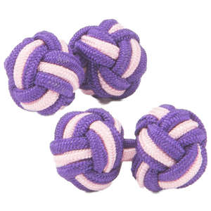 Vibrant Purple and Pale Pink Silk Knot Cufflinks from Cuffs & Co