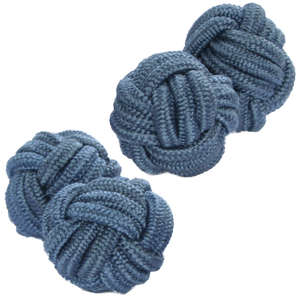 Blue Grey Silk Knot Cufflinks from Cuffs & Co