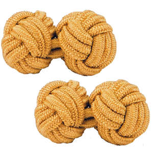 Light Gold Silk Knot Cufflinks from Cuffs & Co