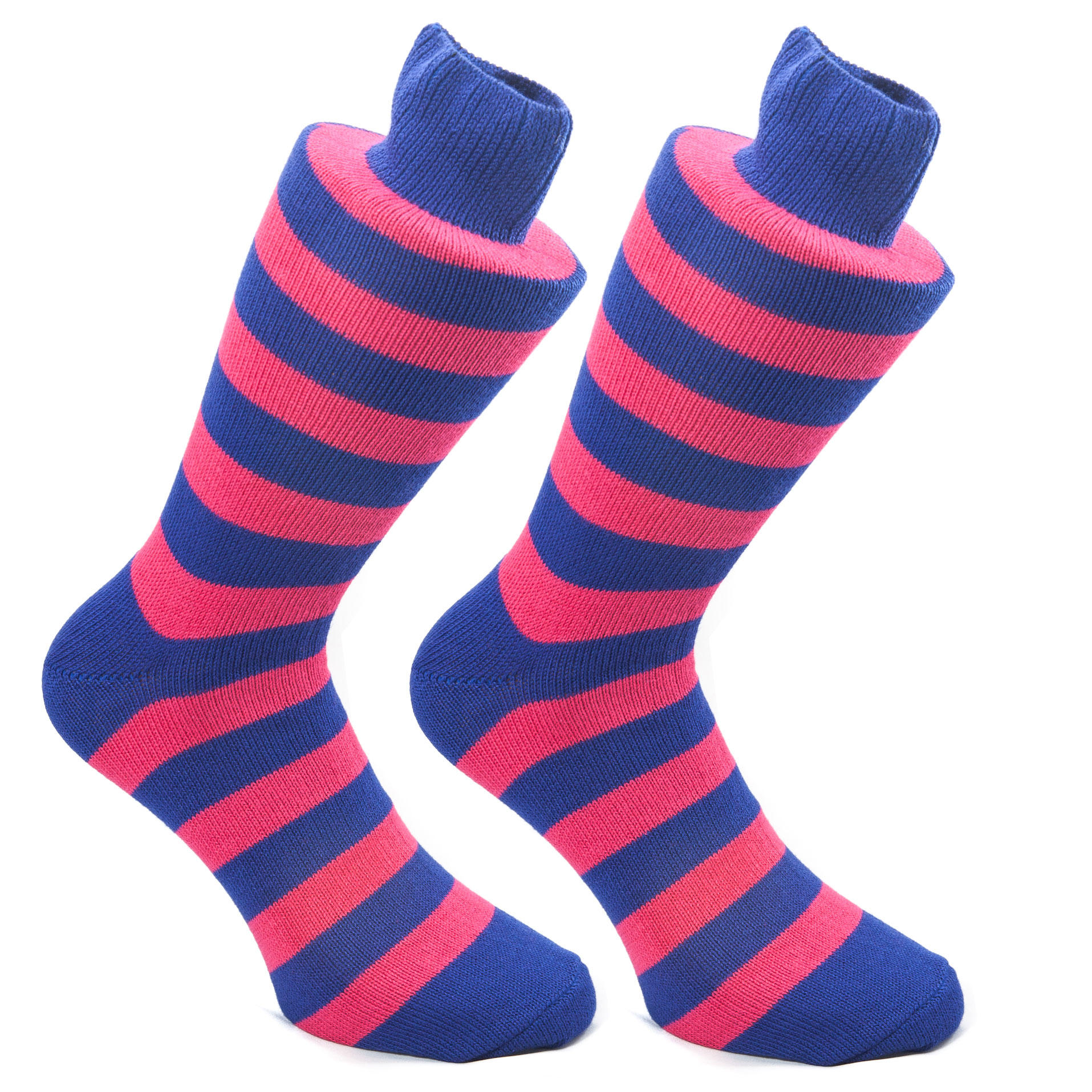 Raspberry & Navy Stripy Socks | SOCK CLUB® from Cuffs & Co