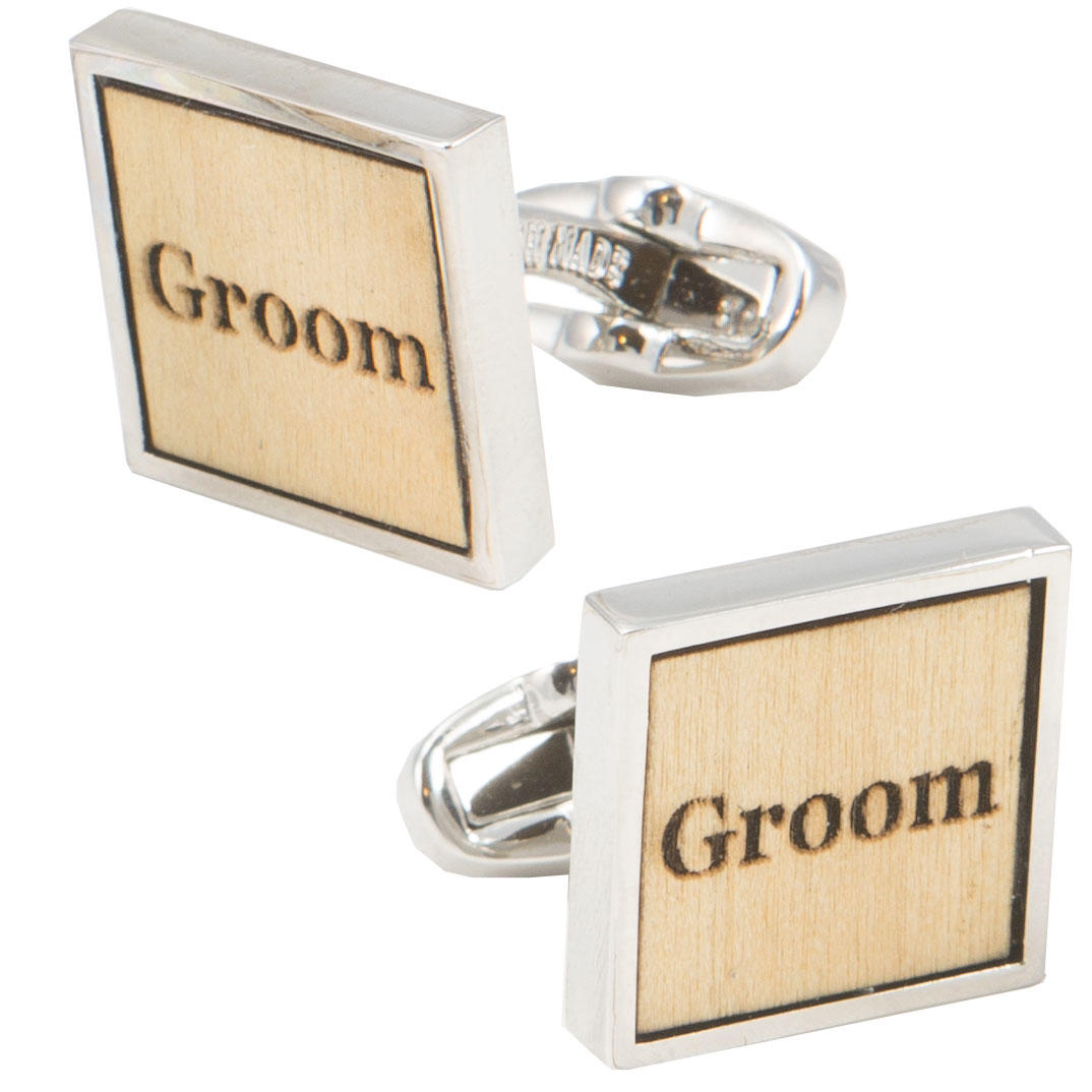 Birch Wood Groom Cufflinks from Cuffs & Co