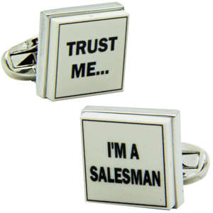 Trust Me I'm a Salesman Cufflinks from Cuffs & Co