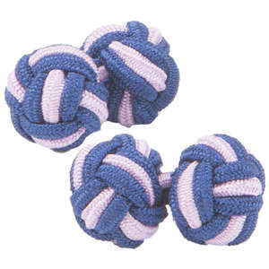 Navy and Pale Purple Silk Knot Cufflinks from Cuffs & Co
