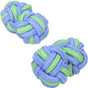 Pale Blue and Pale Green Silk Knot Cufflinks from Cuffs & Co