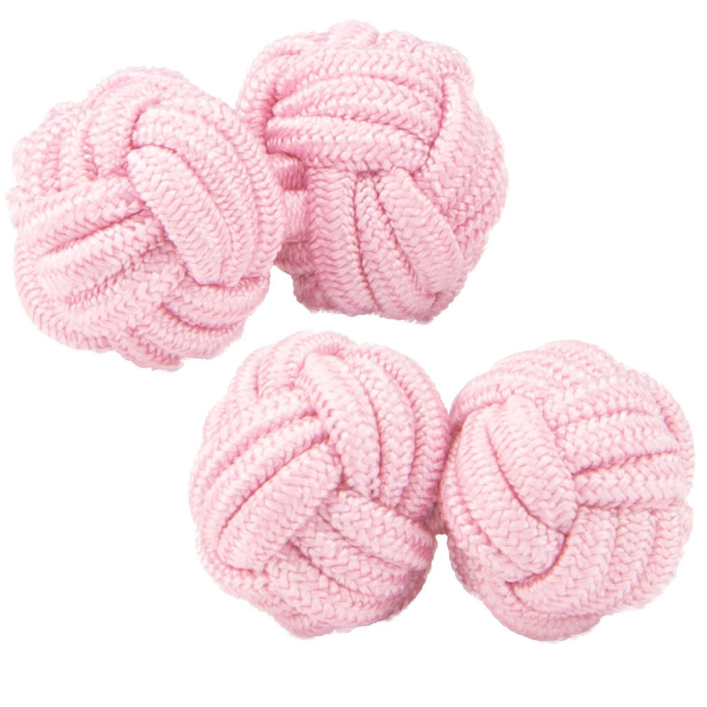 Baby Pink Silk Knot Cufflinks from Cuffs & Co