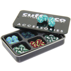 Green Twist Silk Knot Cufflink Set from Cuffs & Co