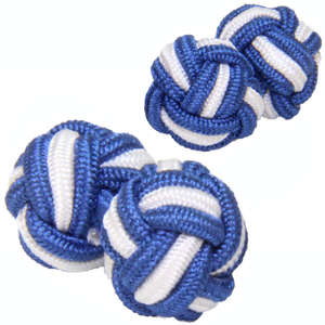 Dark Blue and White Silk Knot Cufflinks from Cuffs & Co
