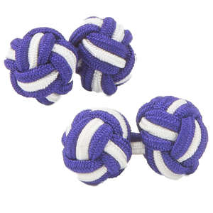 Purple and White Silk Knot Cufflinks from Cuffs & Co