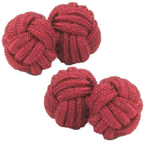 Burgundy Silk Knot Cufflinks from Cuffs & Co