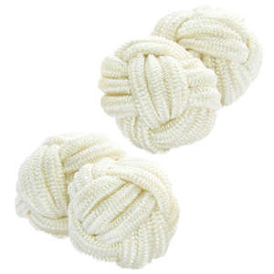 Cream Silk Knot Cufflinks from Cuffs & Co