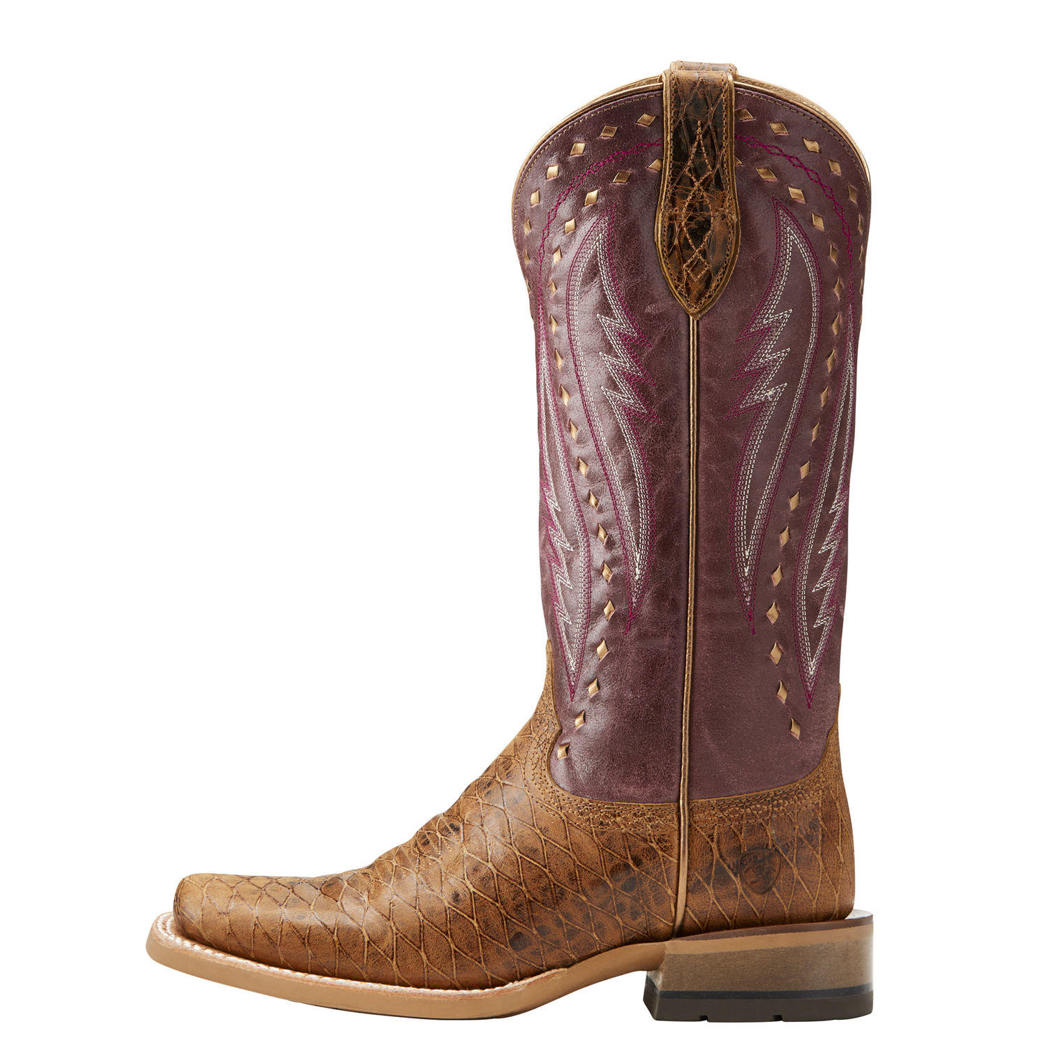 Womens Ariat, cowgirl boot side view. CALLAHAN STYLE 10021663 ARIAT, deep purple and brown leather shaft, foot of boot is tan crocodile textured leather.
