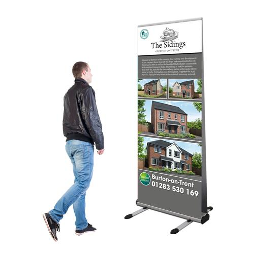 Double sided printed roller banner
