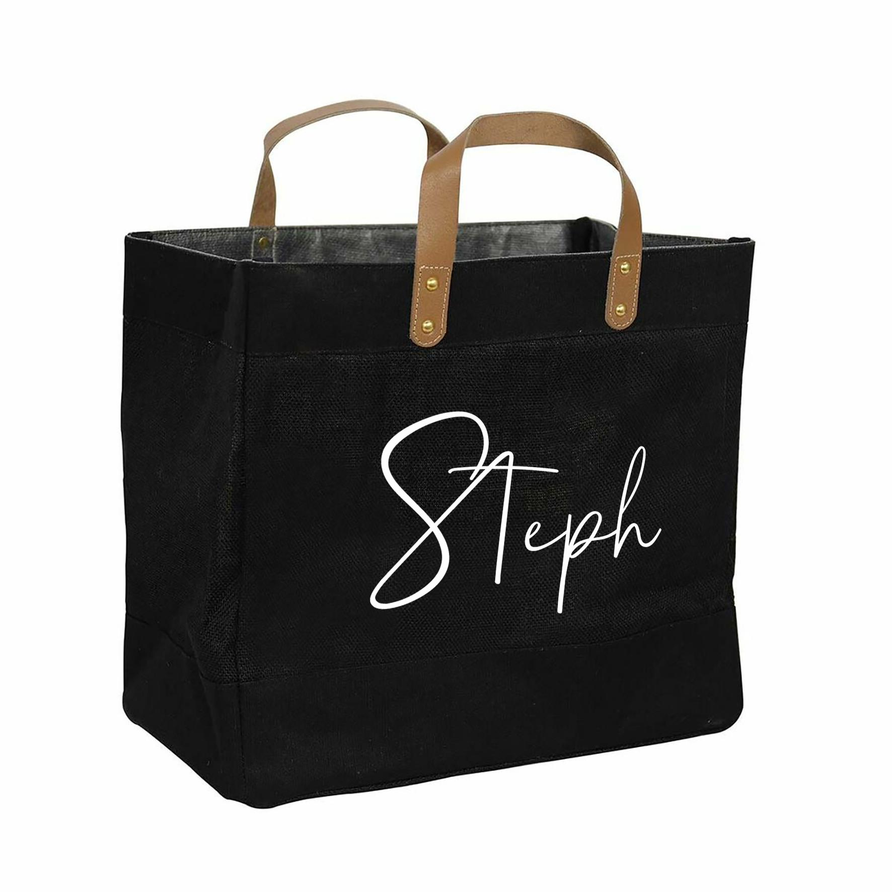 Black jute shopper