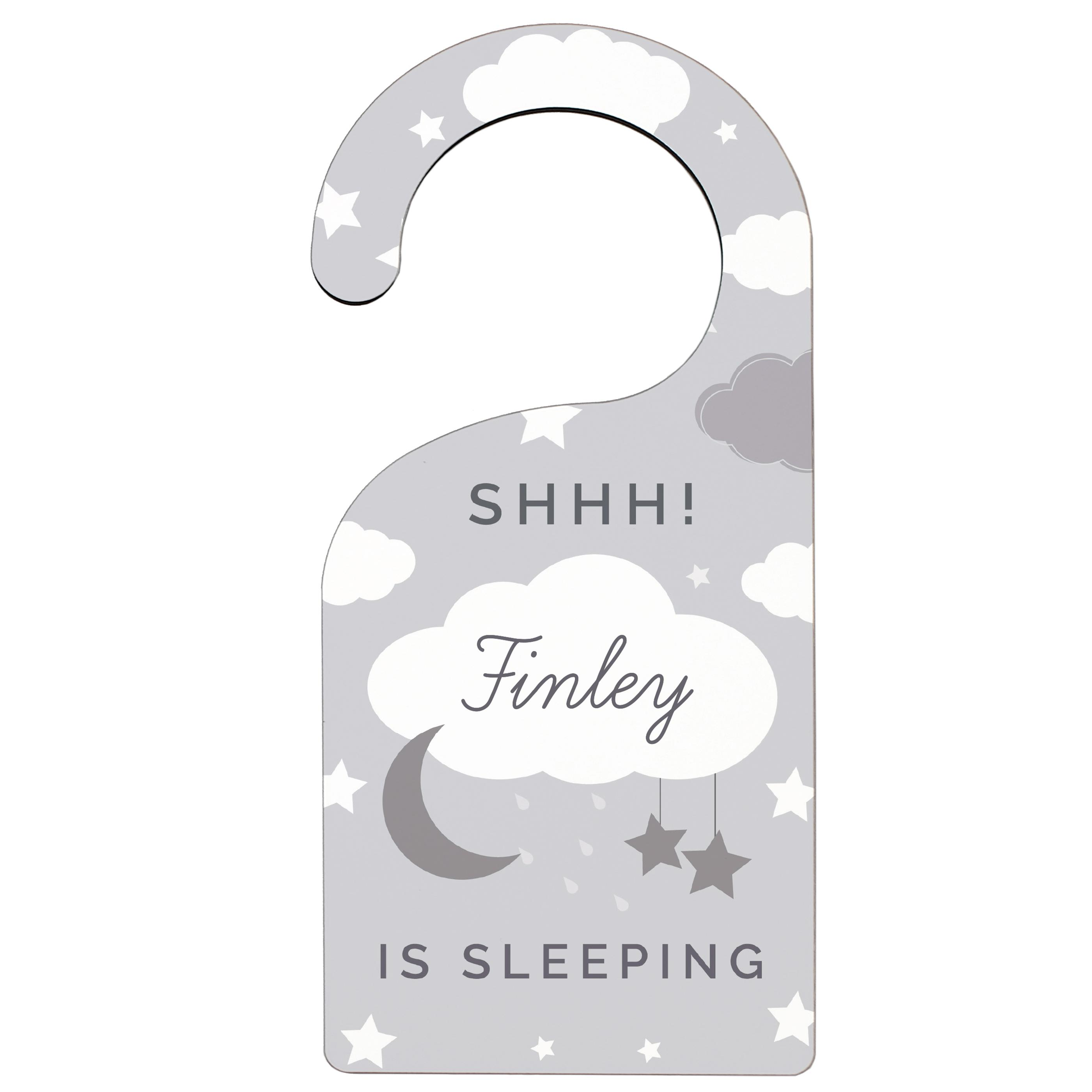 personalised sleeping baby door hanger