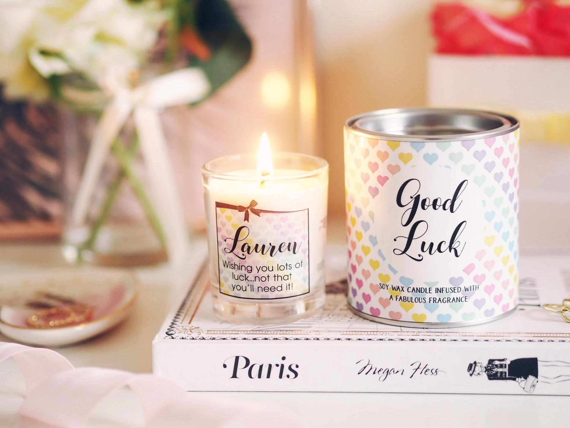 Personalised Good Luck Candle