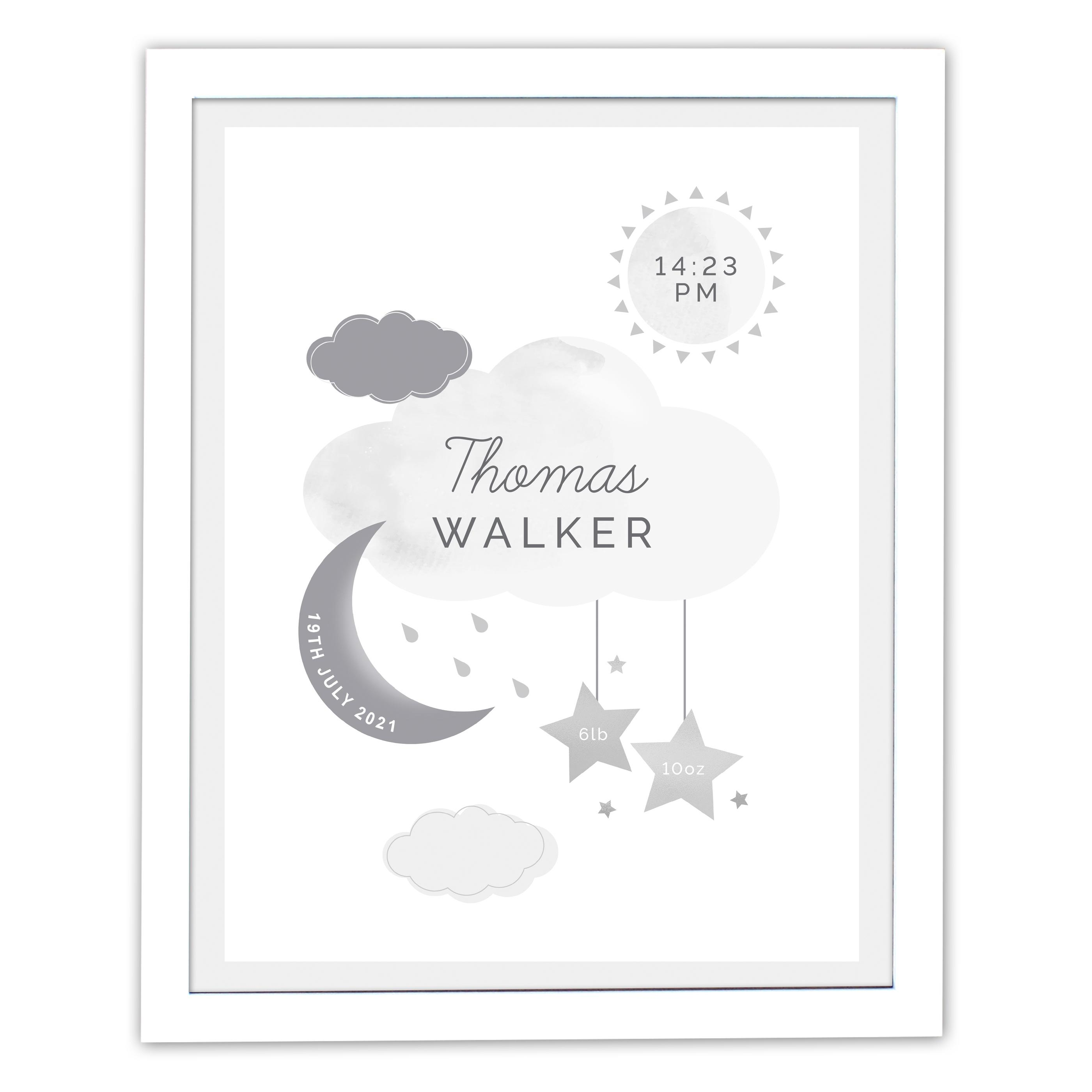 New Baby Moon & Stars White Framed Print