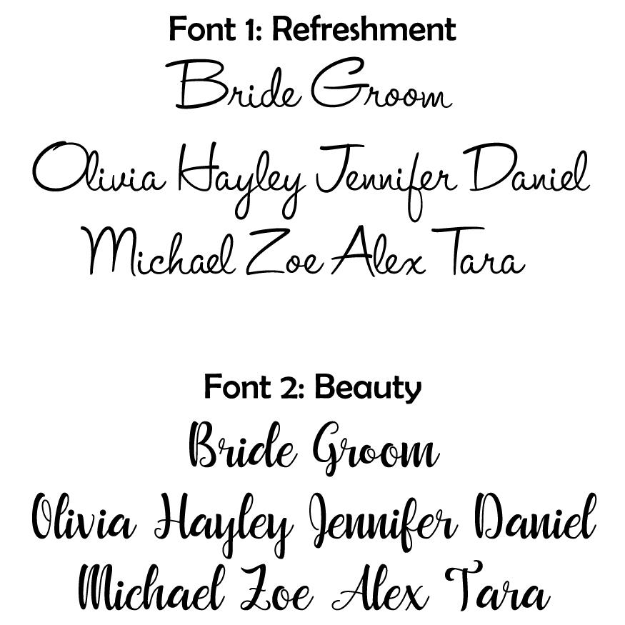 Wedding favour fonts