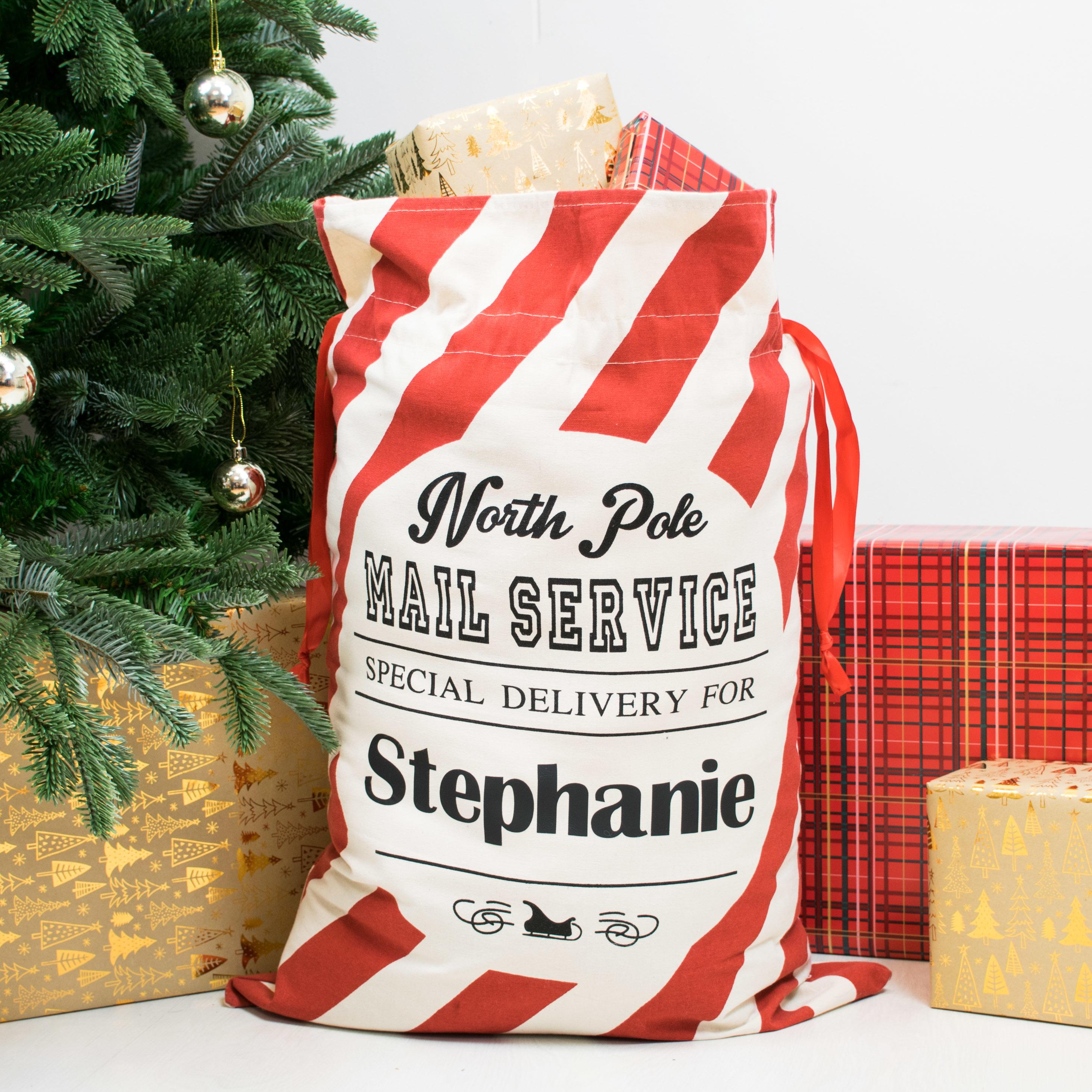 personalised striped santa sack