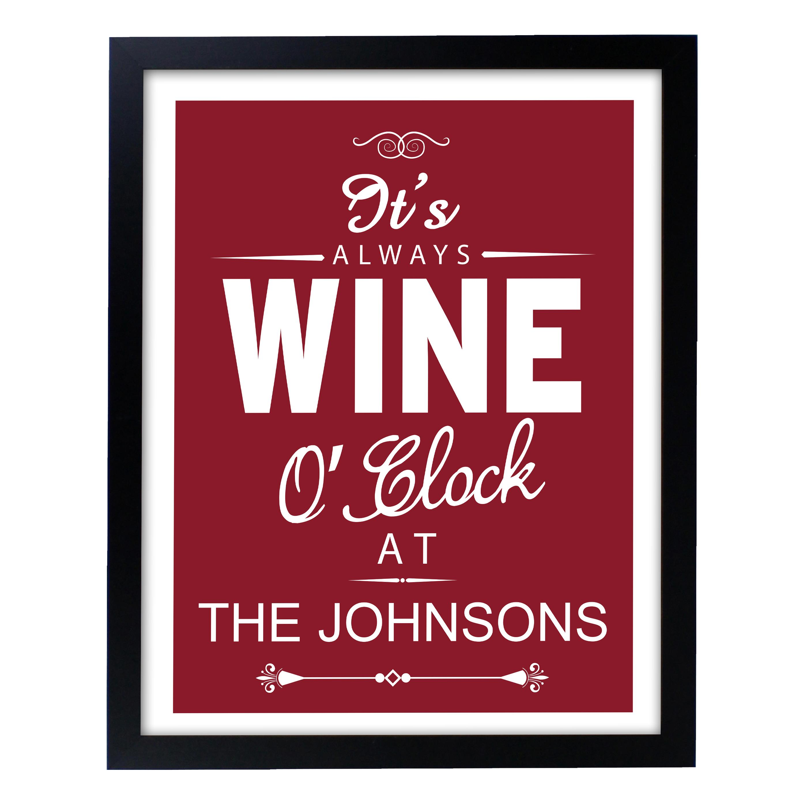 personalised wine oclock print