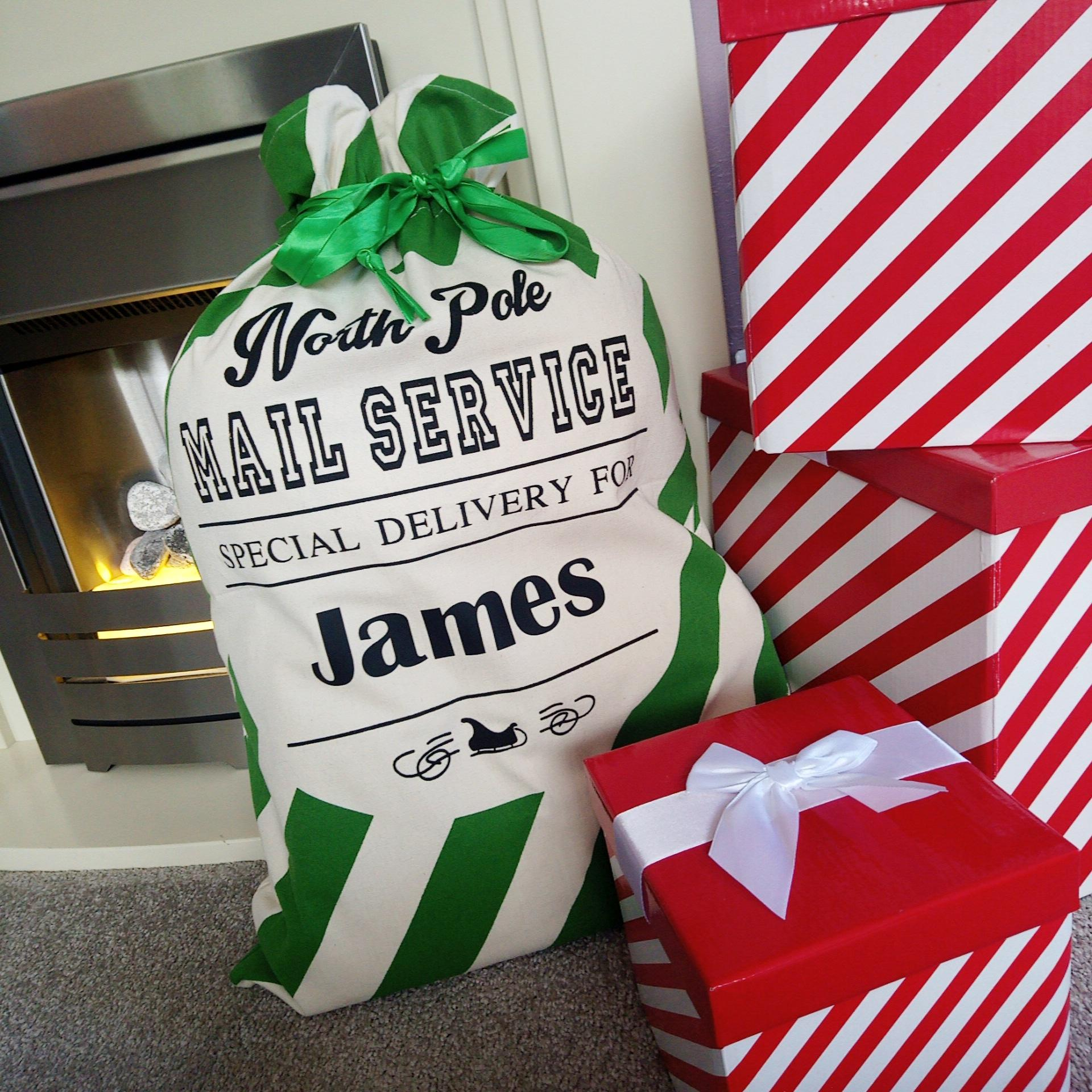 Green personalised santa sack