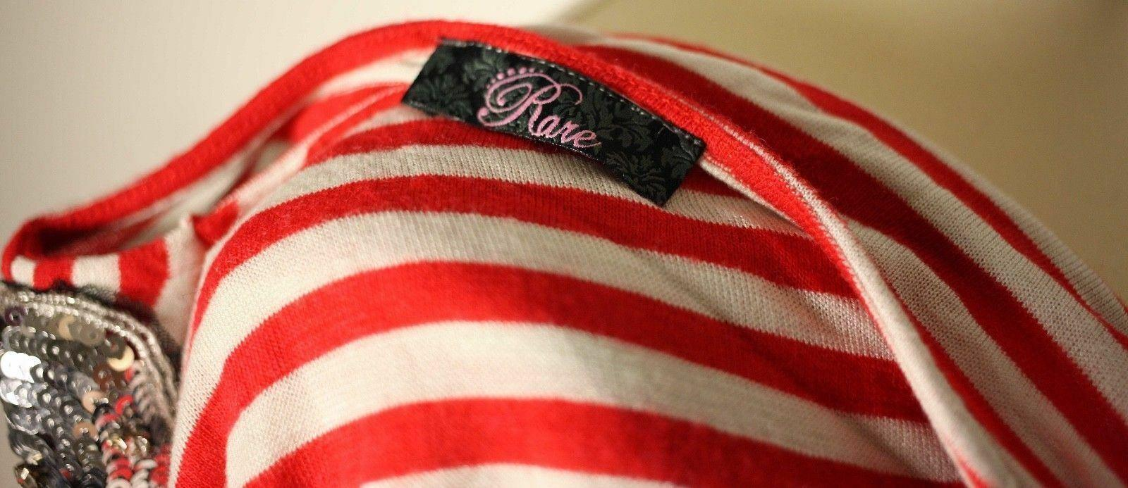 Vintage /'Rare Zinka/' red and white striped ladies sweater with sequin shoulders-UK 8-used-free post worldwide-2 to 14 working days delivery