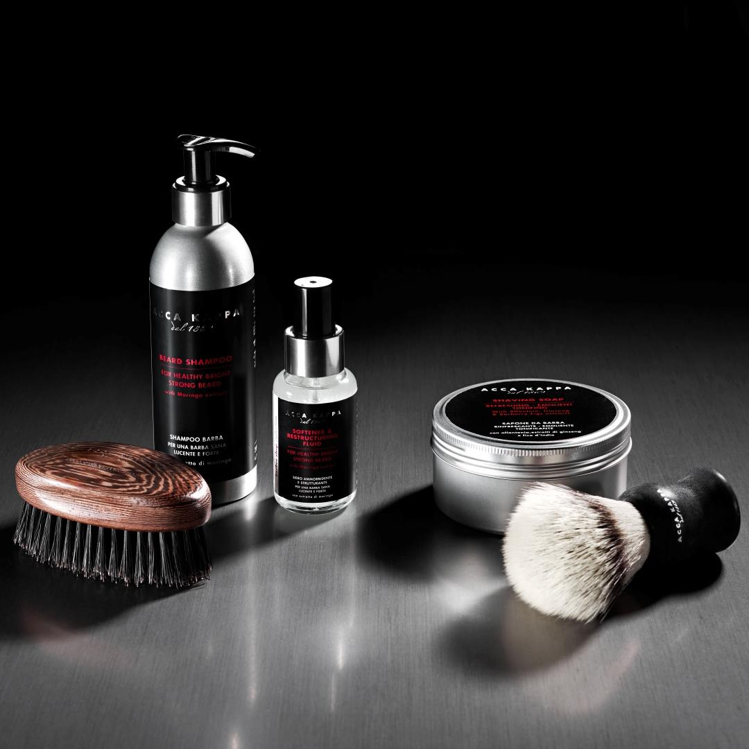 The ACCA KAPPA Barbershop Collection featuring Beard Shampoo, Beard Fluid, Beard Brush, Shaving Soap and Shaving Brush