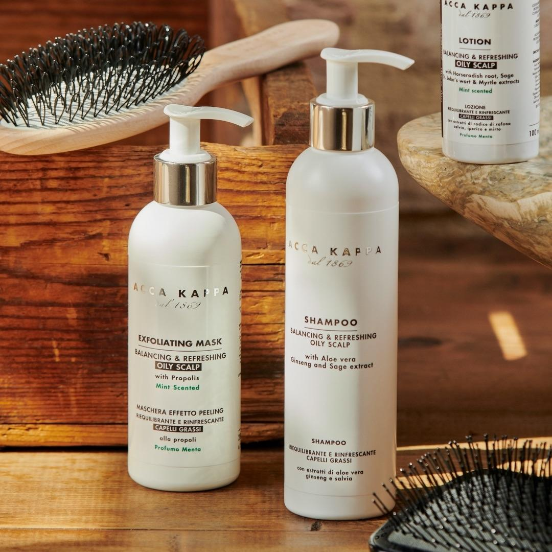Pictured: The Balancing & Refreshing Shampoo and Exfoliating Mask by Acca Kappa