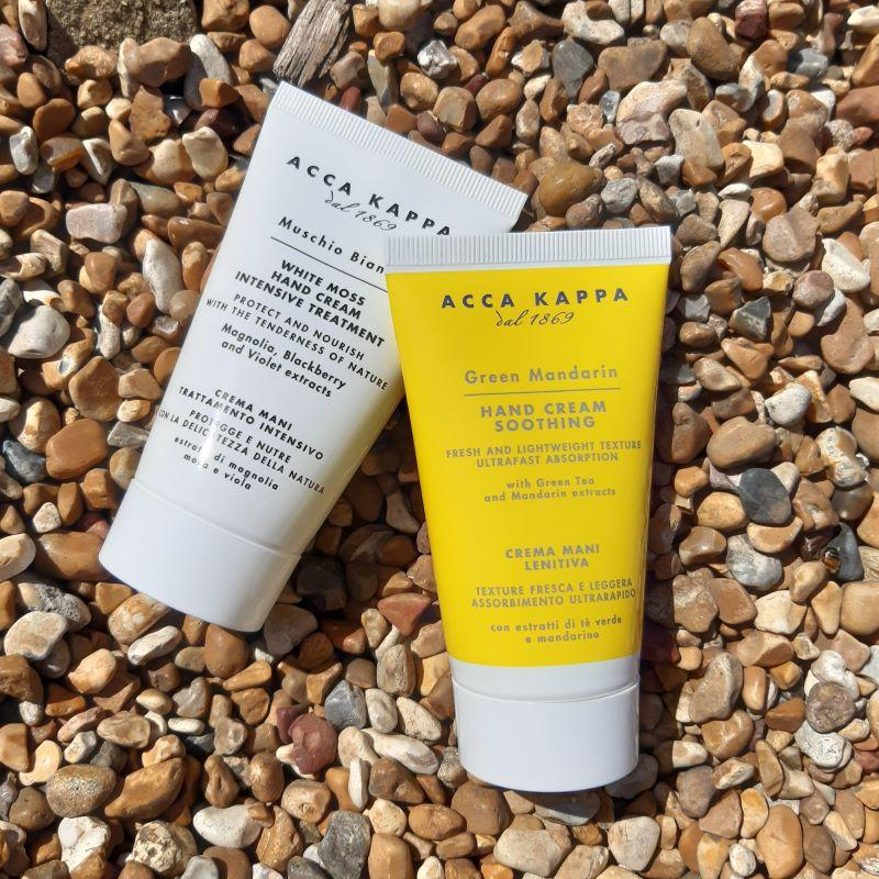 The White Moss Hand Cream 75ml and the Green Mandarin Hand Cream 75ml by ACCA KAPPA