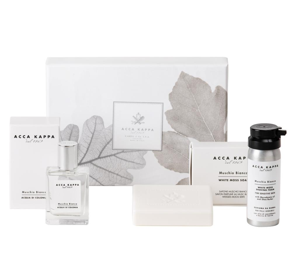 White Moss Gift Set for Him, with Eau de Cologne, Shaving Foam and Soap