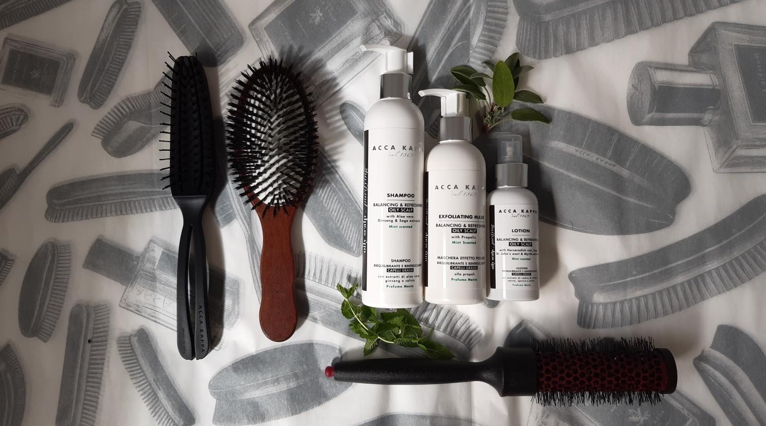 Pictured from left to right: The Airy 2, Pneumatic Pure Bristle Brush, The Balancing & Refreshing Shampoo, The Balancing & Refreshing Scalp Exfoliating Mask, The Balancing & Refreshing Lotion and The Grip & Gloss Styling Brush by ACCA KAPPA