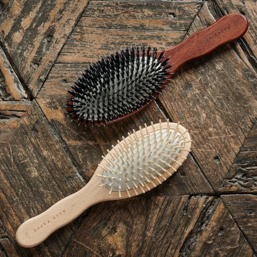 The Beechwood Pneumatic Oval Brush and Kotibe Wood Pure Bristle Brush with Nylon Monofilaments by ACCA KAPPA
