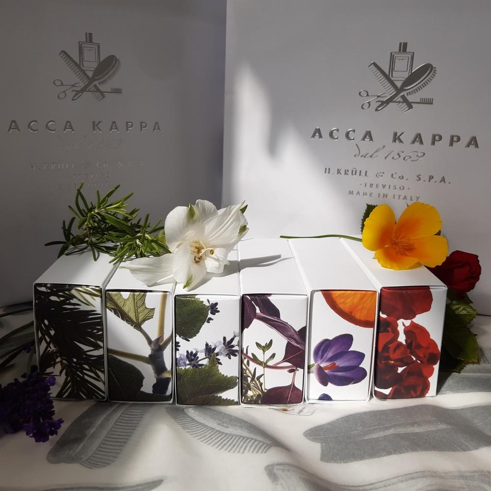 Pictured from left to right: The New Soap Collection by ACCA KAPPA Juniper & White Fir, White Fig & Honey, Lavender & Linden Flower, Thyme & Red Rubin Basil, Orange & Saffron, Rosa Mosqueta & Geranium