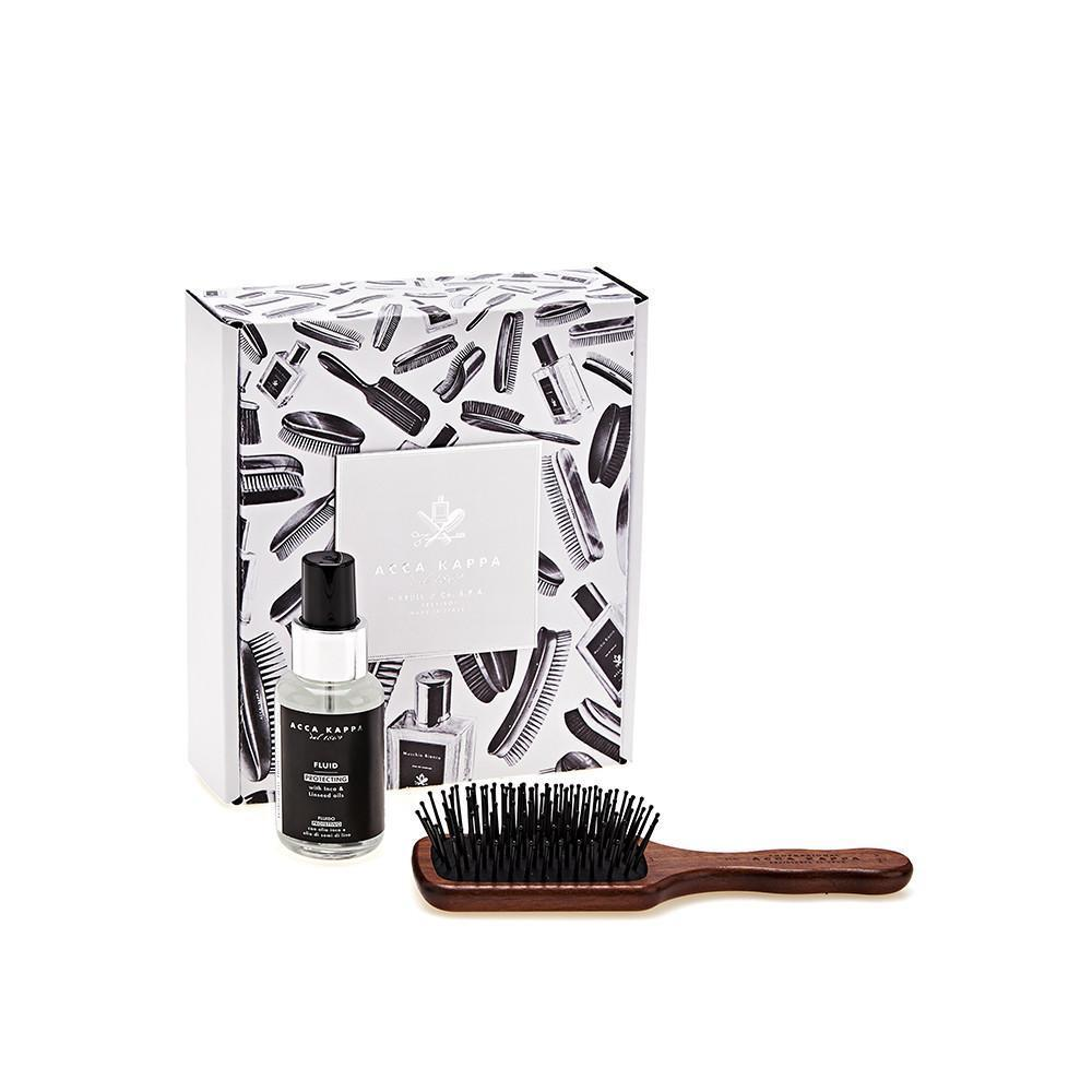 ACCA KAPPA White Moss Gift Set, Travel Size Hair Brush and Hair Fluid 50ml