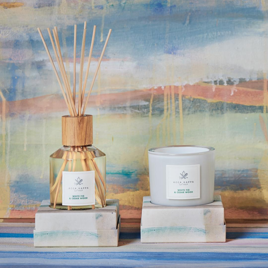 Pictured: The White Fig & Cedarwood diffuser and candle by Acca Kappa.