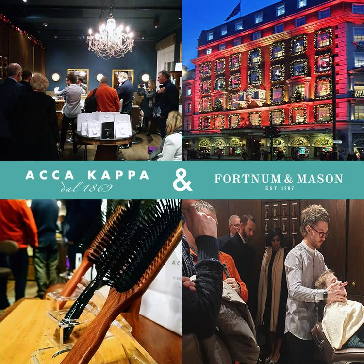Acca Kappa Shave & Style demo event,  Brushes & Storefront, at Fortnum & Mason, Piccadilly , Christmas 2019
