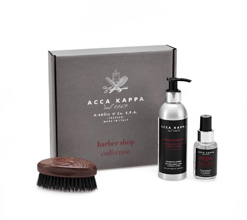 The Barber Shop Collection Gift Set by ACCA KAPPA including Beard Shampoo 200ml, Beard Fluid 50ml and Wengé Wood Beard Brus
