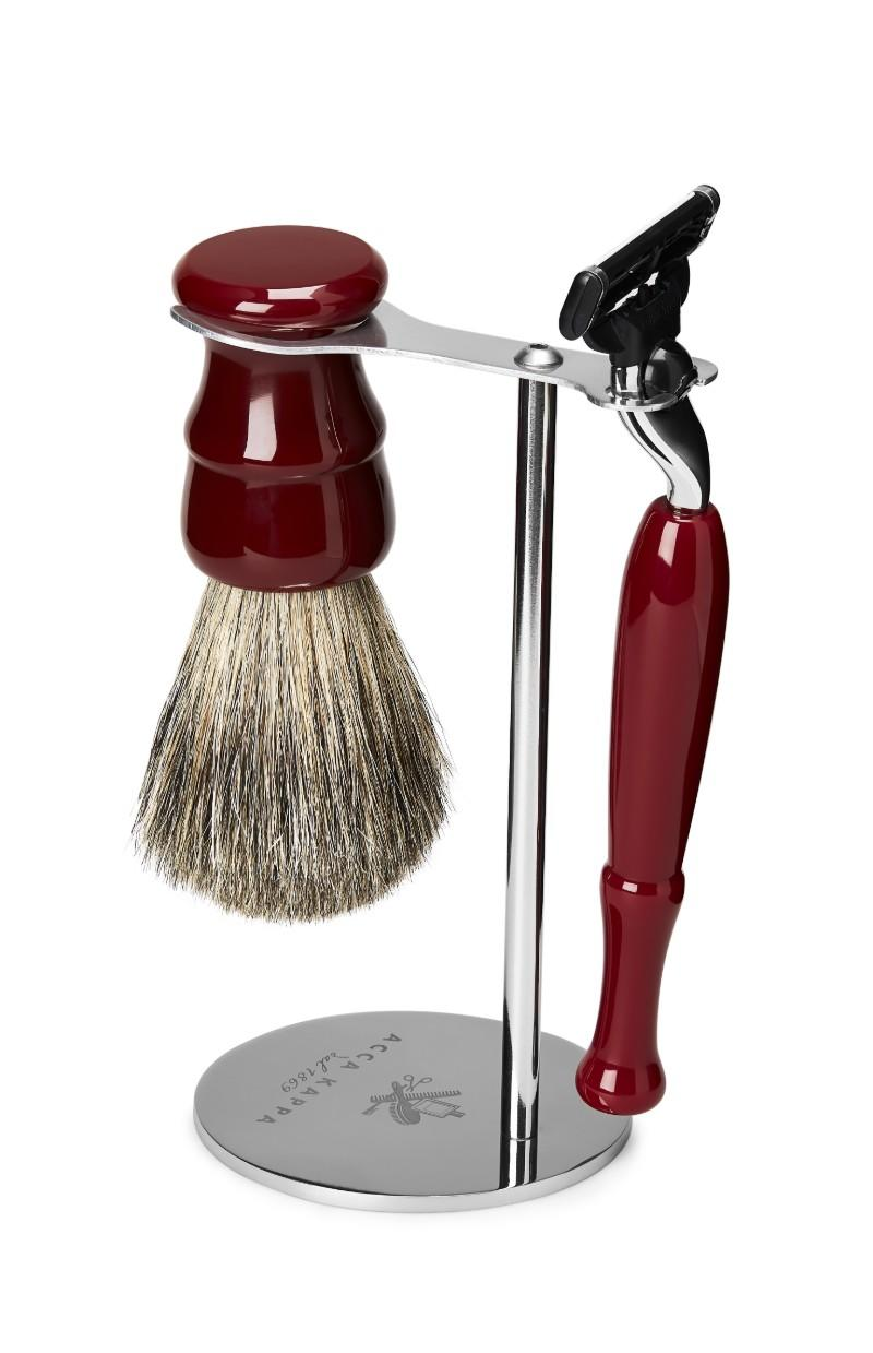 The 3-Piece Venetian Red Shaving Set by ACCA KAPPA including Pure Badger Shaving Brush, Mach3 Razor and Chrome-plated stand