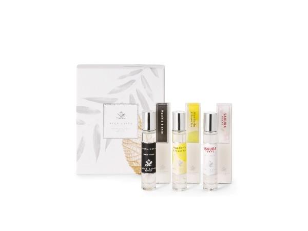 Perfume Collection Gift Set for Her with White Moss, Mandarin & Green Tea and Sakura Tokyo
