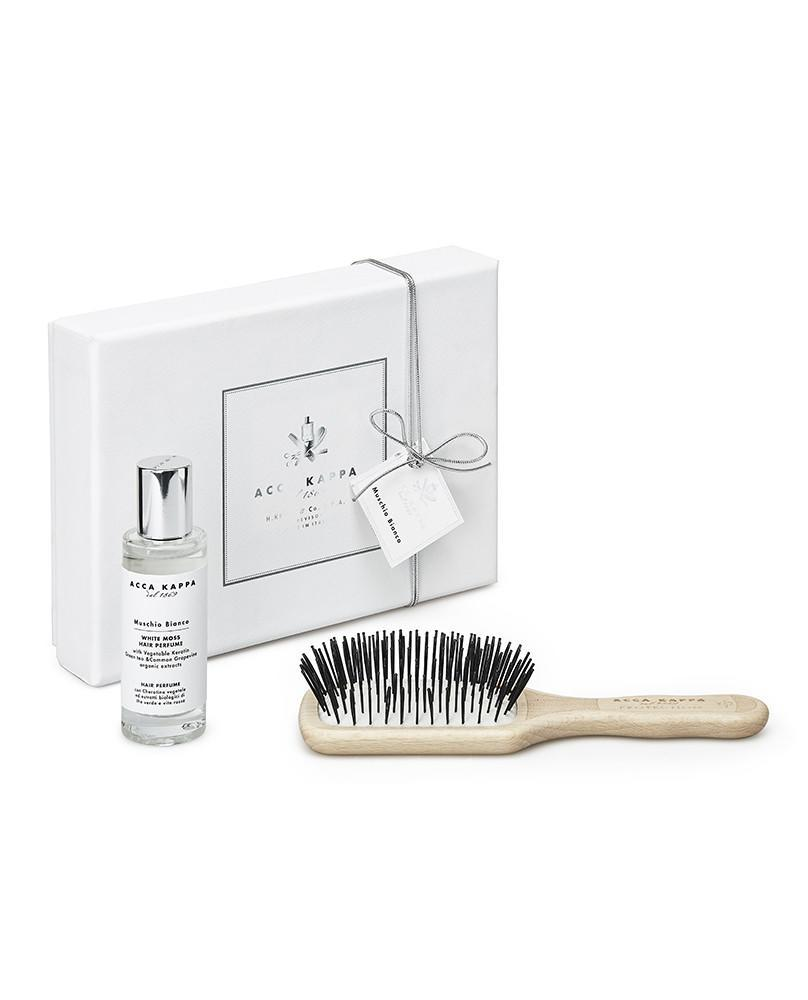 ACCA KAPPA White Moss Gift Set of Hair Perfume 30ml and Beechwood Travel Protection Hair Brush