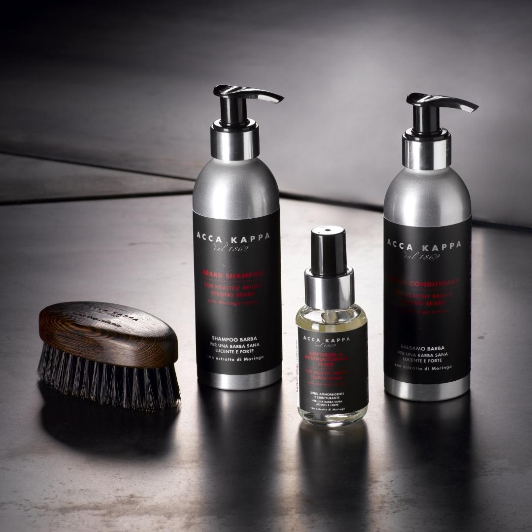 The ACCA KAPPA Barbershop Collection featuring Beard Shampoo, Beard Conditioner, Beard Fluid and Beard Brush